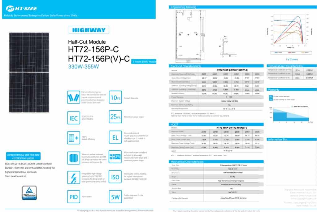 Catalogue của tấm pin HT-SAAE HIGHWAY HT72-156P-C