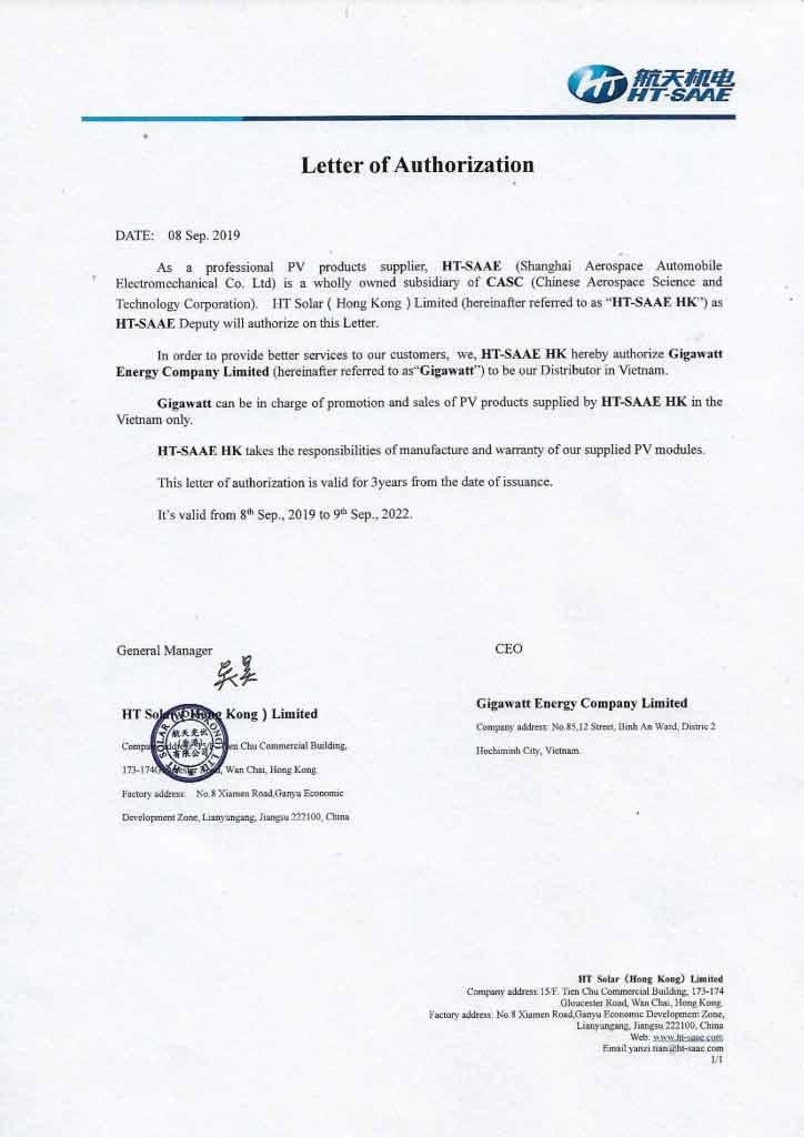 Giấy chứng nhận nhà phân phối của HT-SAAE cấp cho Gigawatt