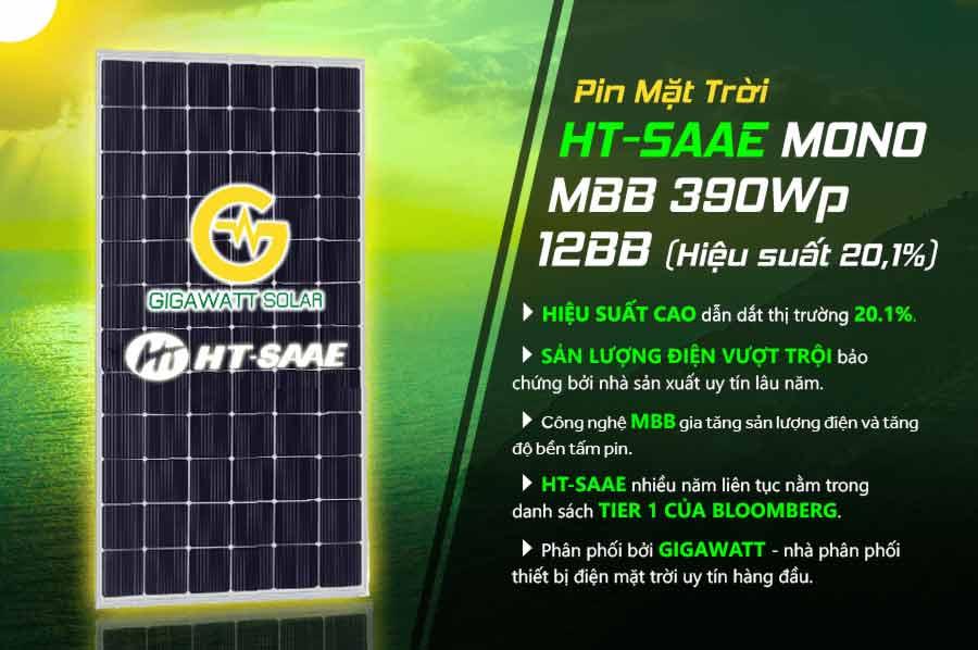 Pin Mặt Trời HT-SAAE MONO MBB 390Wp 12BB (Hiệu suất 20,1%)